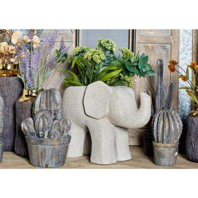14 in. x 8 in. Distressed Gray Fiber Clay Elephant Planter