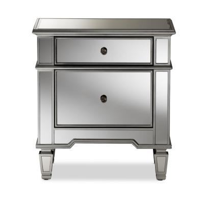 Sussie 2-Drawer Silver Metallic Nightstand