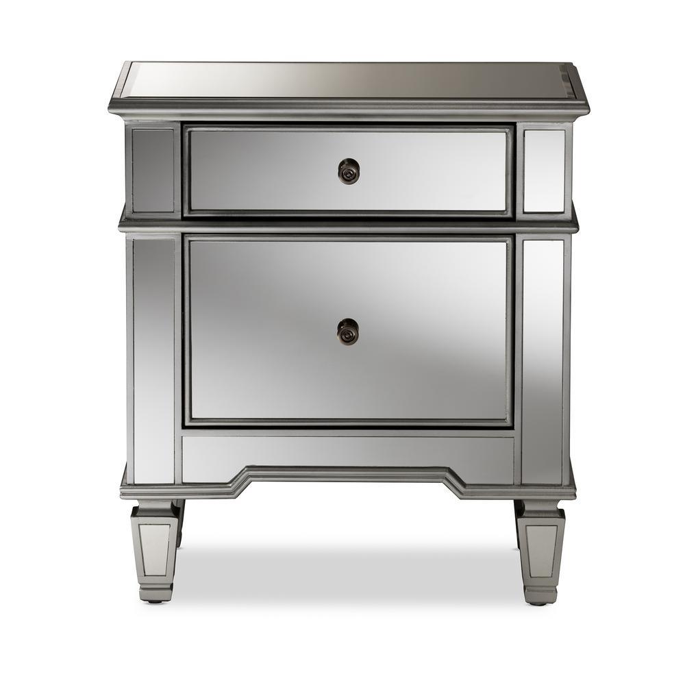 Sussie 2-Drawer Silver Metallic Nightstand