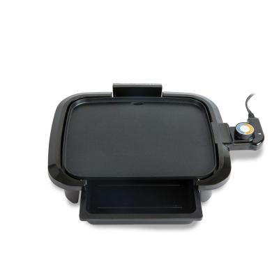 9.5 in. Black Griddle with Non-Stick Surface and Warming Drawer