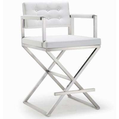 Director 38.6 in. White and Silver Steel Counter Stool