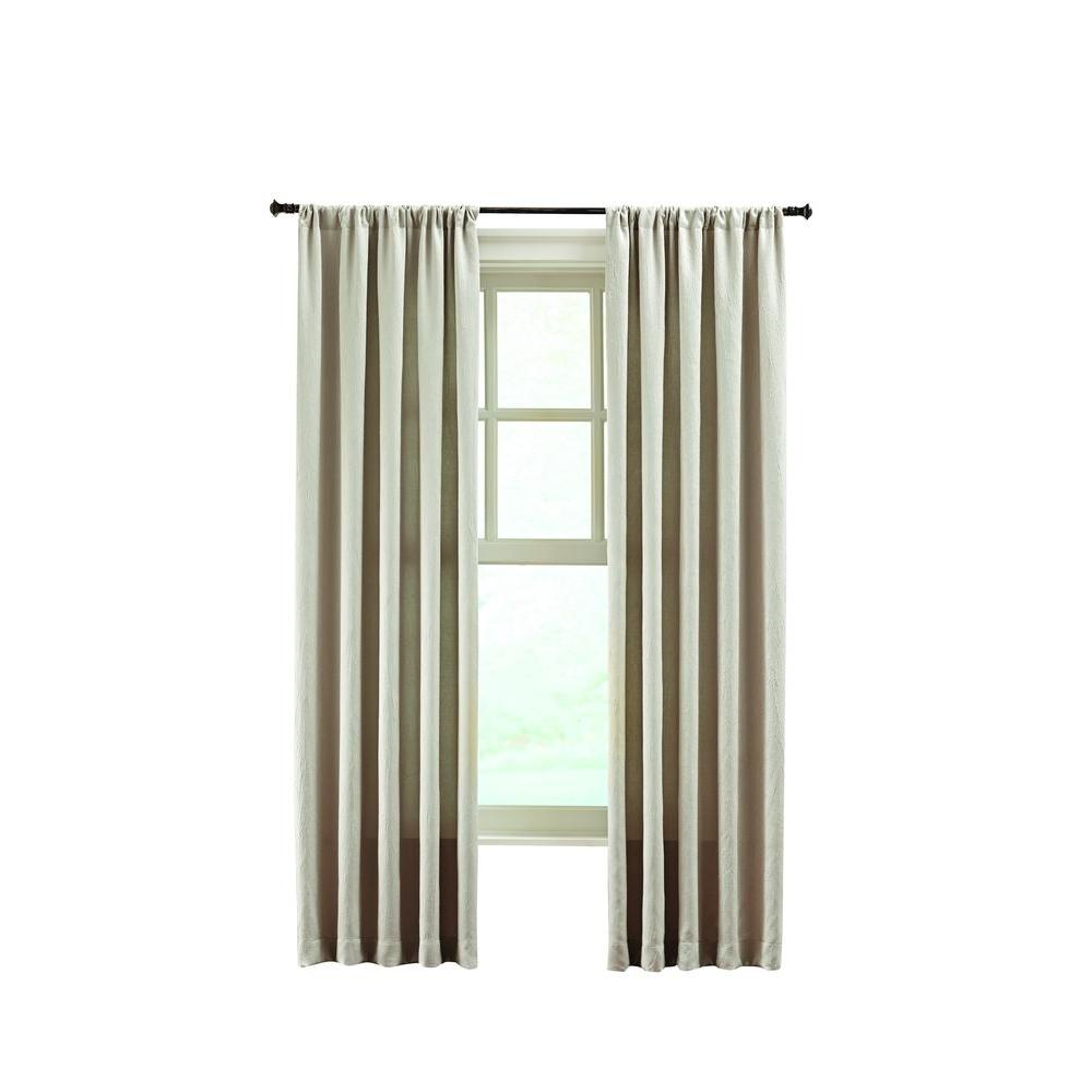 Home Decorators Collection Beige Solid Crushed Room Darkener Curtain - 50 in. W x 108 in. L