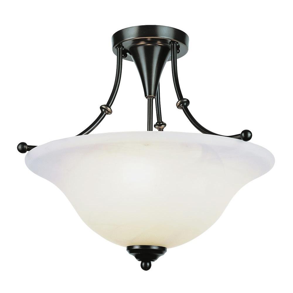 Stewart 3-Light Weathered Bronze Incandescent Ceiling Semi-Flush Mount Light