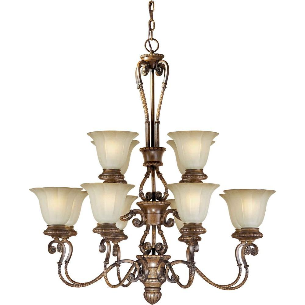 Talista 12-Light Rustic Sienna Bronze Chandelier with Umber Glass Shade