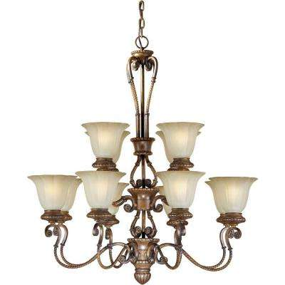 12-Light Rustic Sienna Bronze Chandelier with Umber Glass Shade