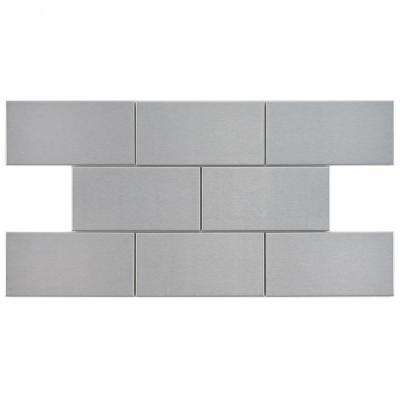 Alloy Subway 3 in. x 6 in. Stainless Steel Over Porcelain Metal Wall Tile (1 sq. ft. / pack)
