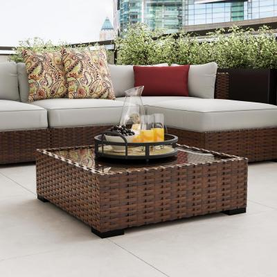 Commercial Dark Brown Square Wicker Outdoor Patio Coffee Table with Glass Top