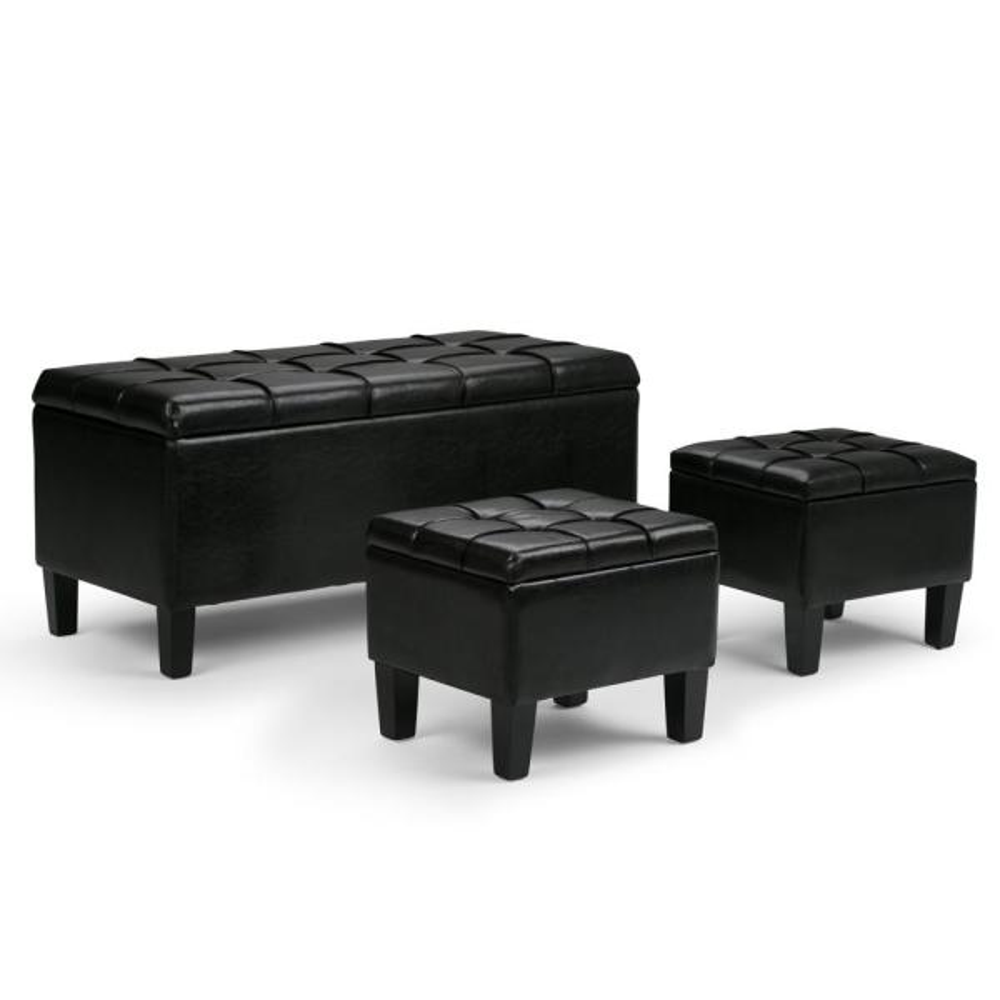 Simpli Home Dover 44 in. Contemporary Storage Ottoman in Midnight Black Faux Leather