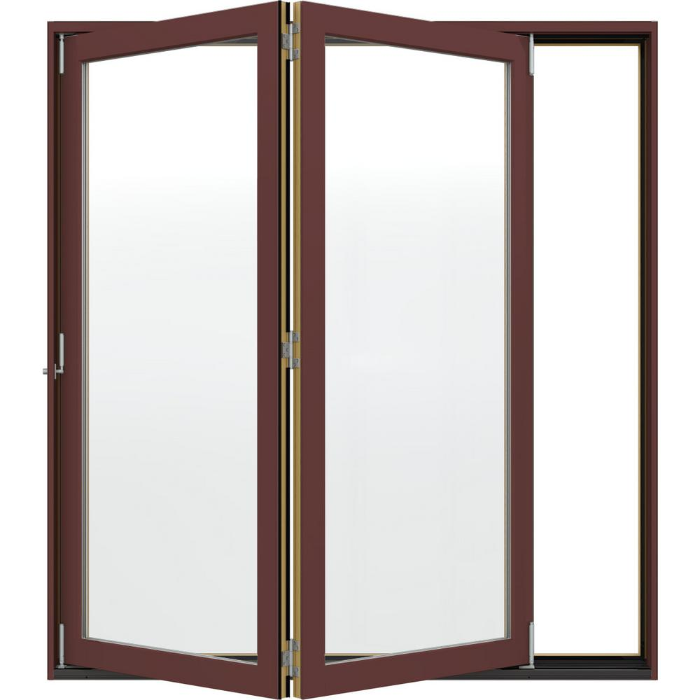 JELD-WEN 72 in. x 80 in. W-4500 Redwood Clad Wood Right-Hand Full Lite Folding Patio Door w/Unfinished Interior