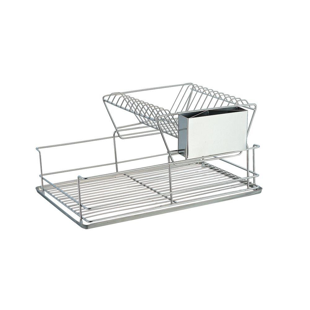 sandusky 2 tier wire dish rack in chrome wdr101812 the home depot. Black Bedroom Furniture Sets. Home Design Ideas