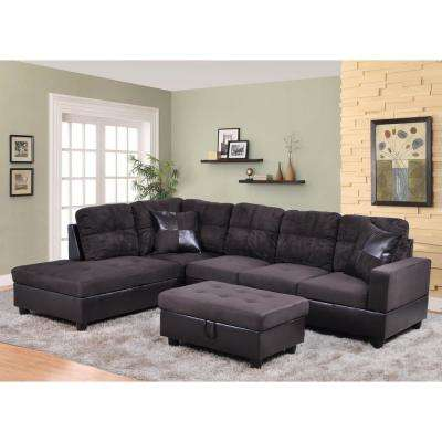 Brown Left Chaise Sectional With Storage Ottoman