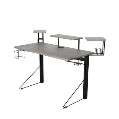 51 in. Rectangular Gray/Black Computer Gaming Desk with Shelf