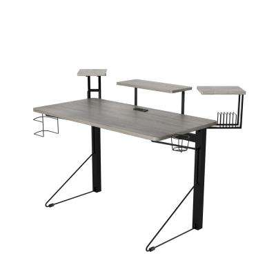 51 in. Rectangular Gray/Black Computer Desk with Shelf
