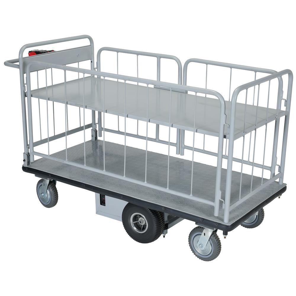 db5742daa95 Vestil 28 in. x 60 in. Electric Material Handling Cart With Side ...