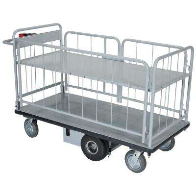 28 in. x 60 in. Electric Material Handling Cart With Side Carts and 1-Shelf