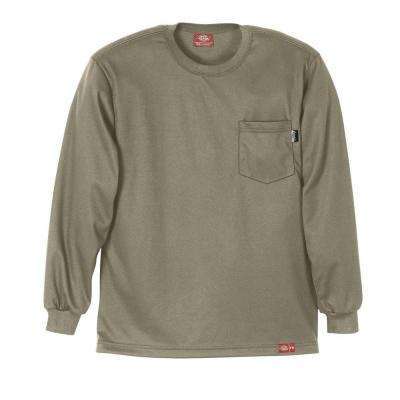 Men's Extra Large Khaki Flame Resistant Long Sleeve T-shirt