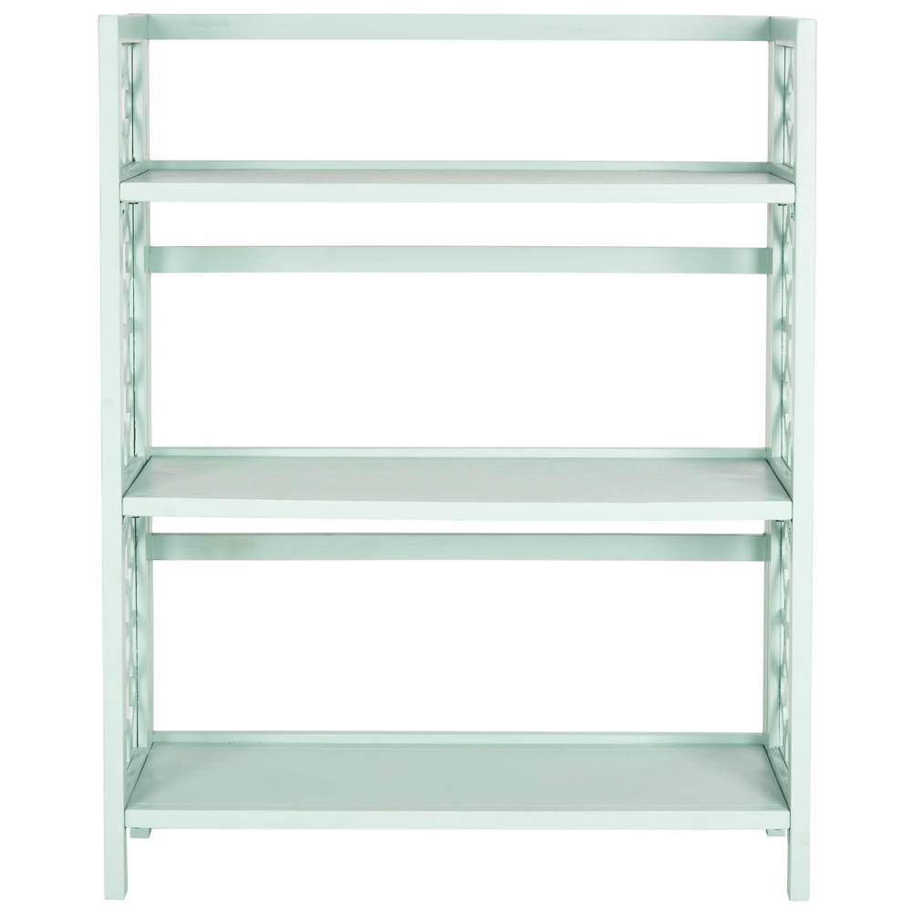 42.5 in. Celadon Wood 3-shelf Etagere Bookcase