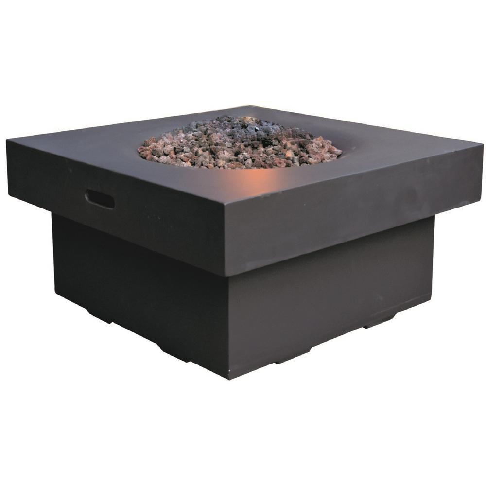 Branford 34 in. x 17 in. Square Concrete Liquid Propane Fire Pit in Black with Canvas Cover and Lava Rock
