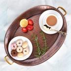 Old Dutch 17 in. x 13 in. Antique Copper Oval Tray with Brass Handles