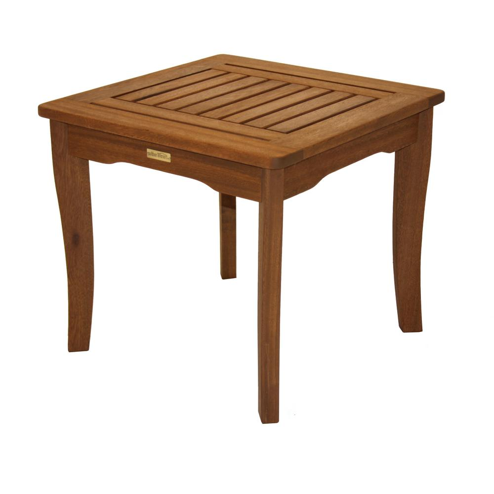 Admirable Outdoor Interiors Square Wood Outdoor Side Table With Eucalyptus Top Home Interior And Landscaping Ologienasavecom