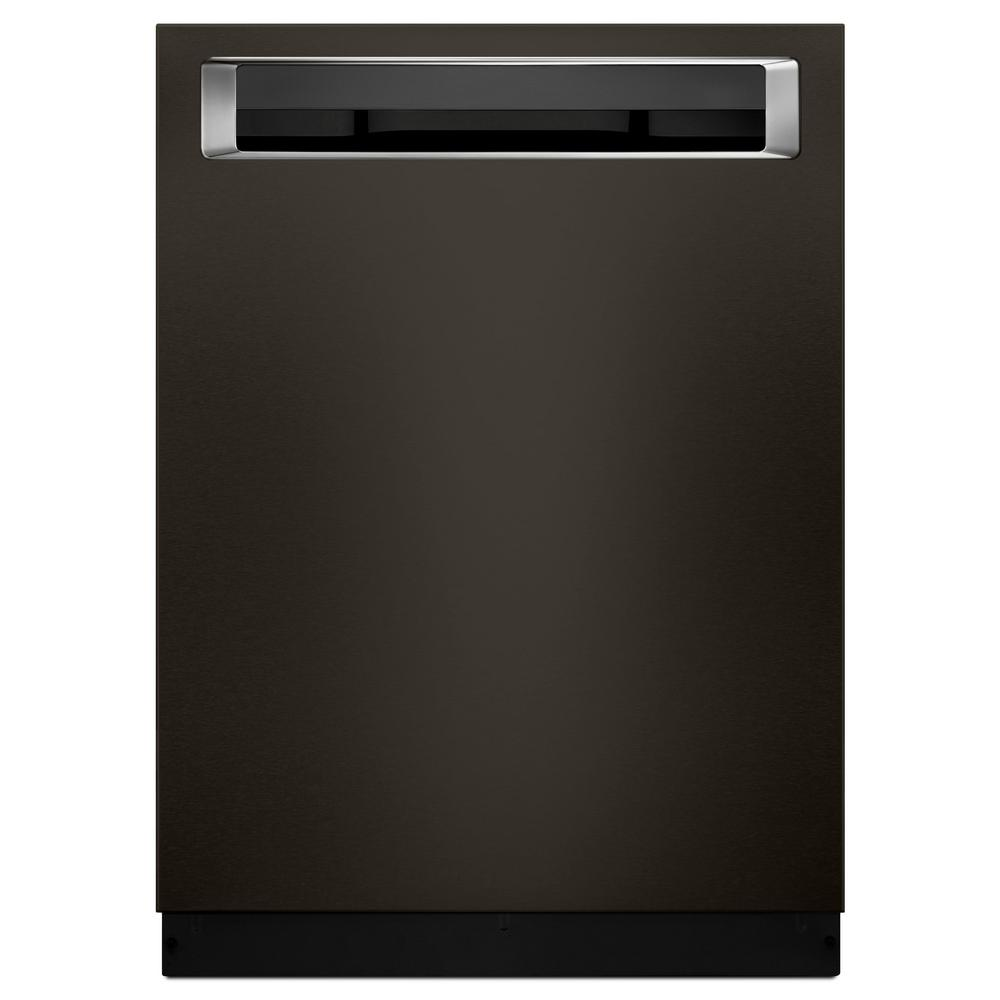 kitchenaid top control builtin tall tub dishwasher in black stainless with fanenabled