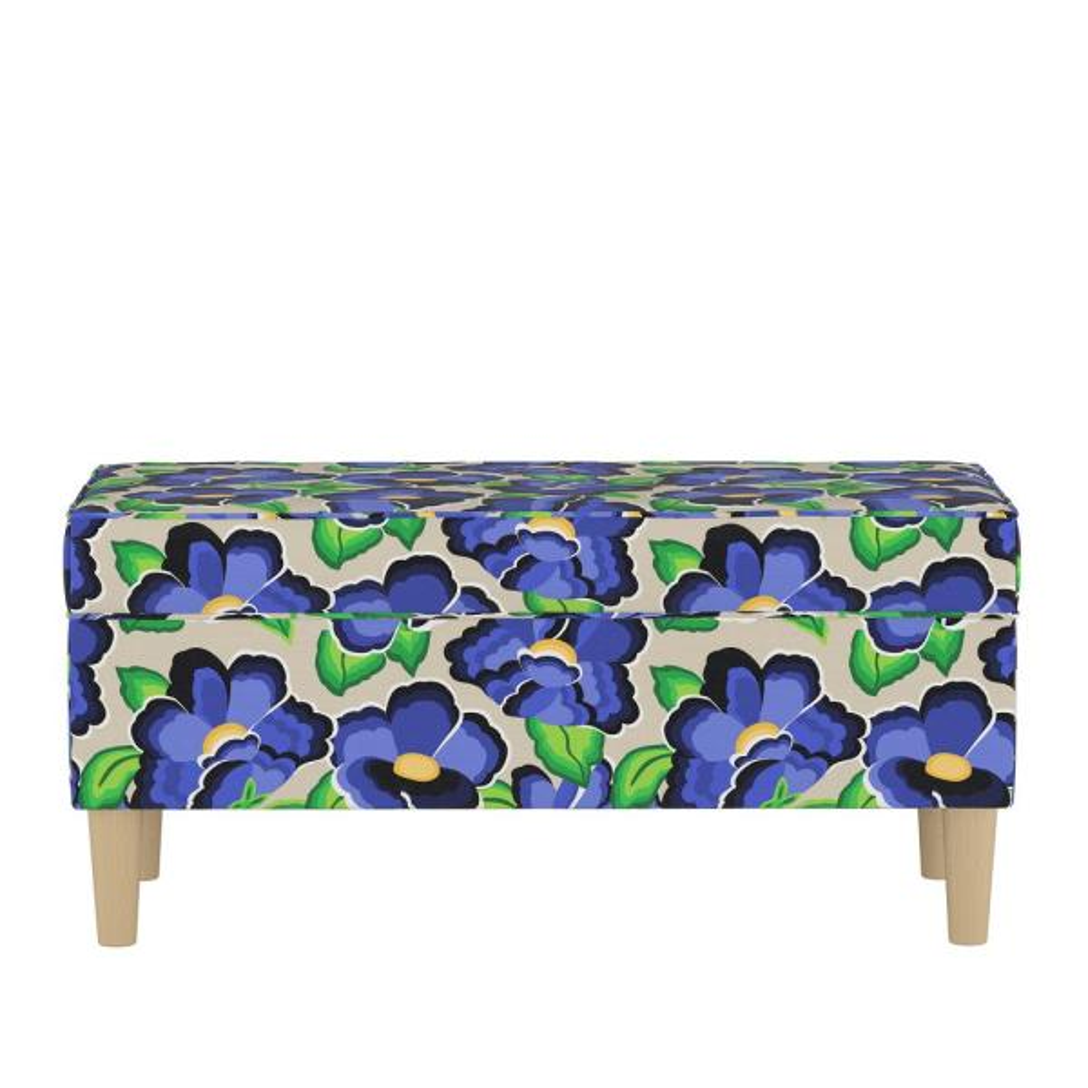 Skyline Furniture Carla Floral Blue Storage Bench 948NATCRFLBLUOG