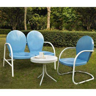 Griffith Blue 3-Piece Metal Outdoor Conversation Seating Set