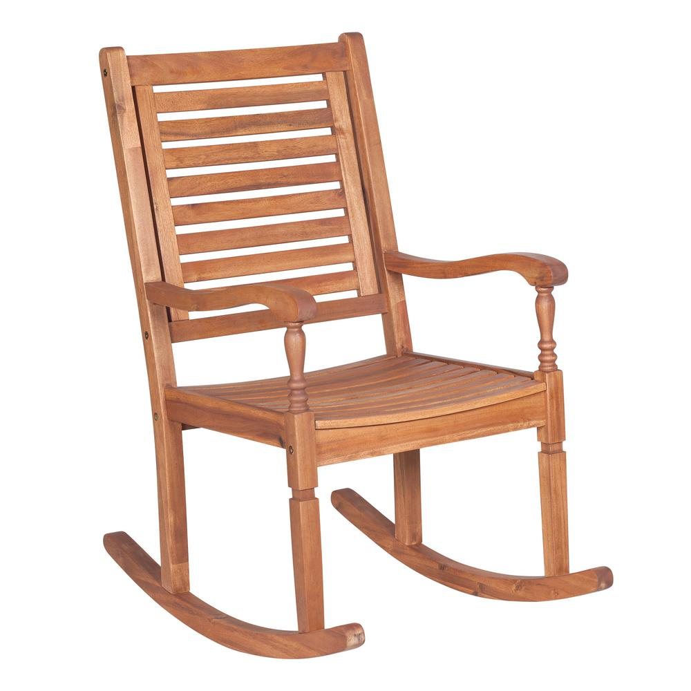 walker edison furniture company boardwalk brown acacia wood outdoor rocking chair hdwrcbr the. Black Bedroom Furniture Sets. Home Design Ideas