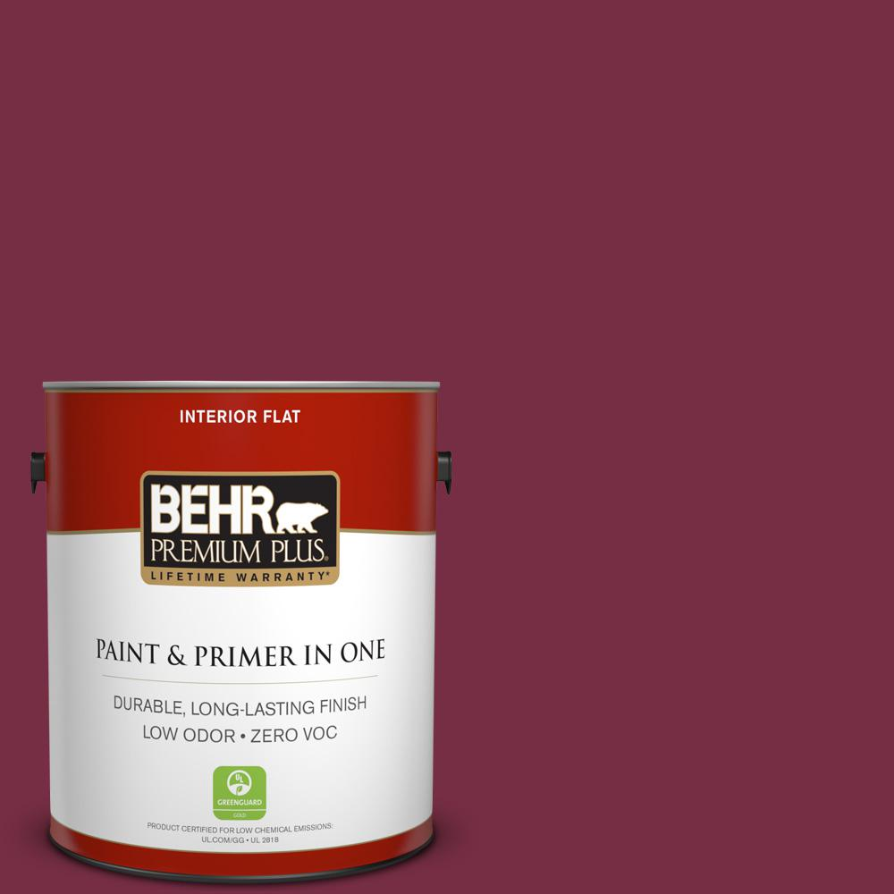 BEHR Premium Plus 1 gal. #S-H-110 Wine Tasting Flat Zero VOC Interior Paint and Primer in One, Reds/Pinks