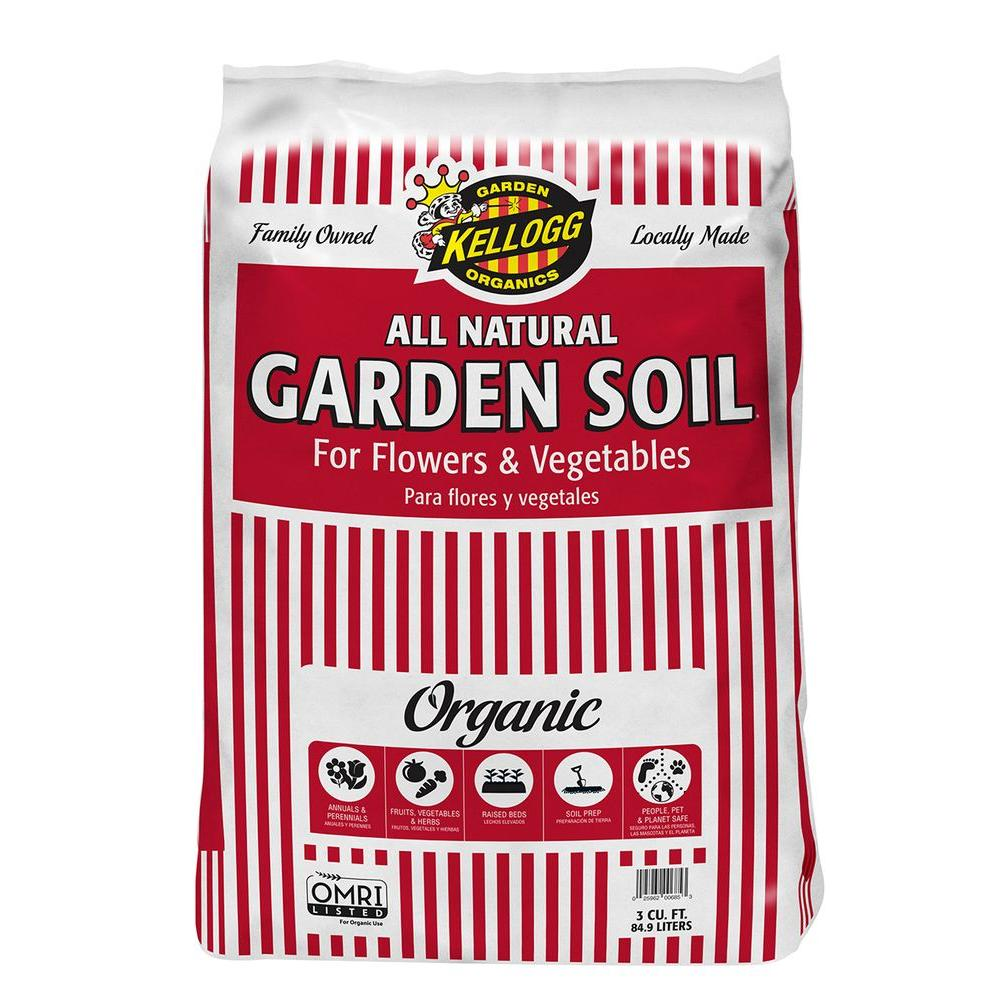 Kellogg Garden Organics 3 Cu Ft All Natural Garden Soil For Flowers And Vegetables 685 The
