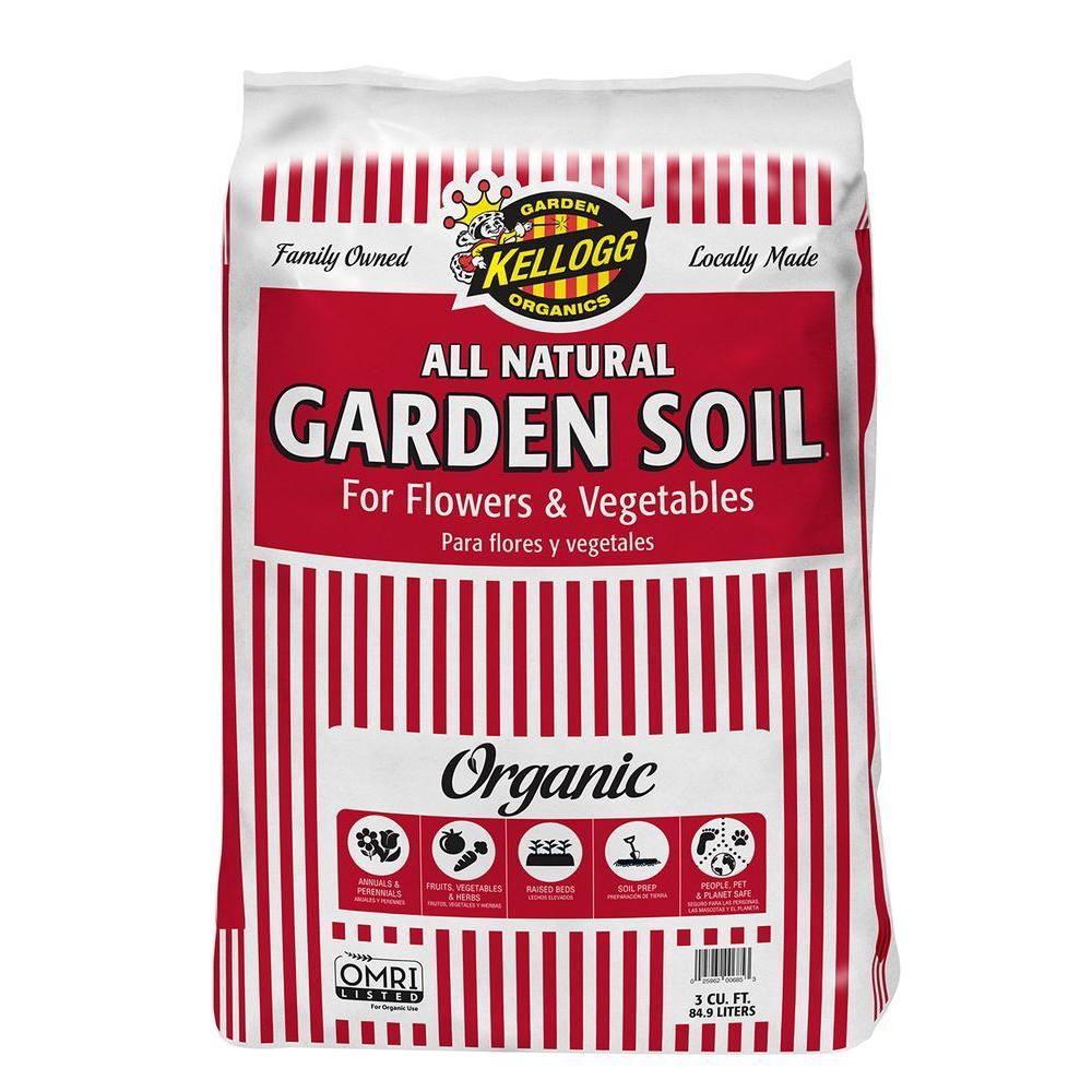 Kellogg Garden Organics 3 Cu Ft All Natural Garden Soil For Flowers And Vegetables 685 The Home Depot
