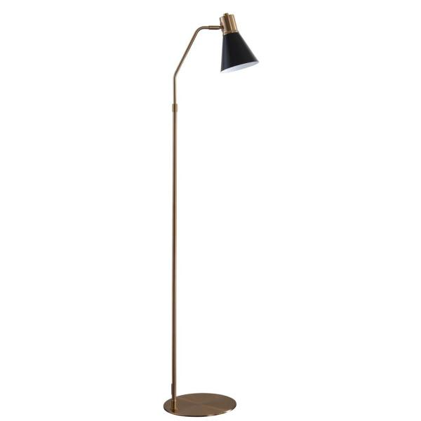 Grania 60 in. Black/Brass Gold Arc Floor Lamp with Black Shade