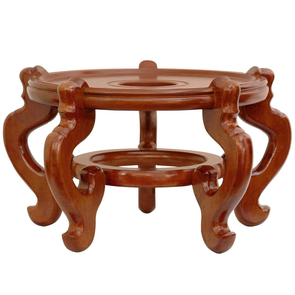 Oriental Furniture 10.5 in. Rosewood Fishbowl Stand in Honey