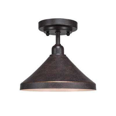 10 in. 1-Light Dark Granite Semi-Flush Mount with Dark Granite Metal Shade Steel