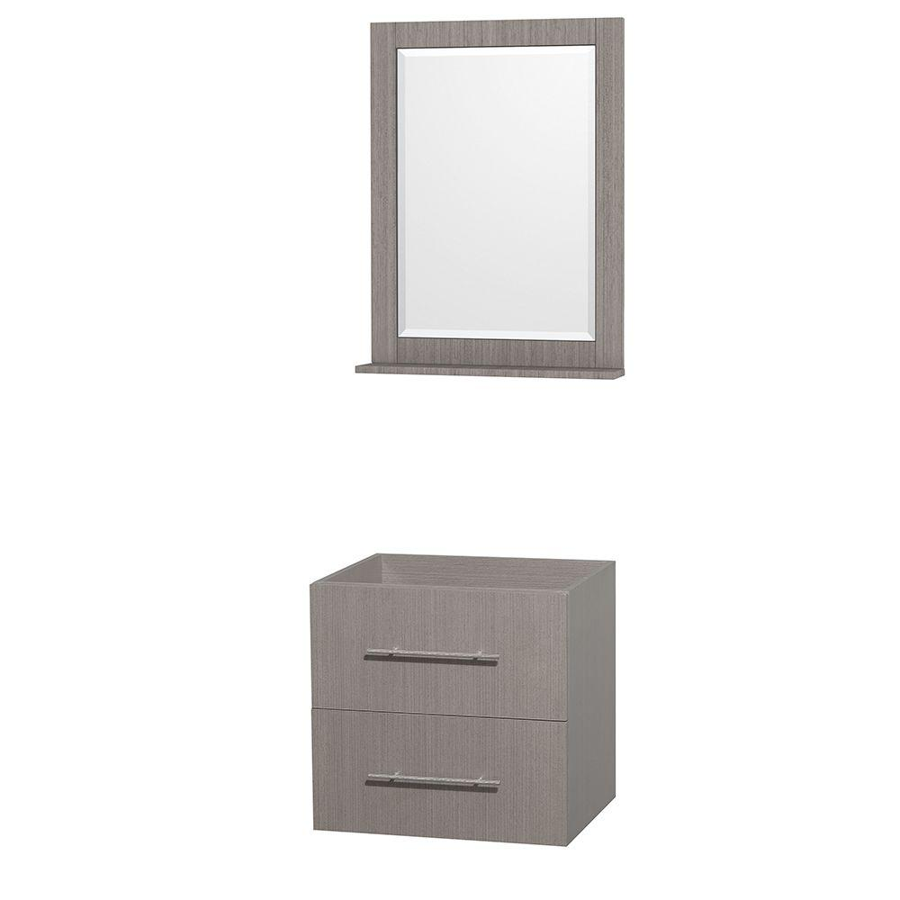 Centra 23 in. Vanity Cabinet with Mirror in Gray Oak