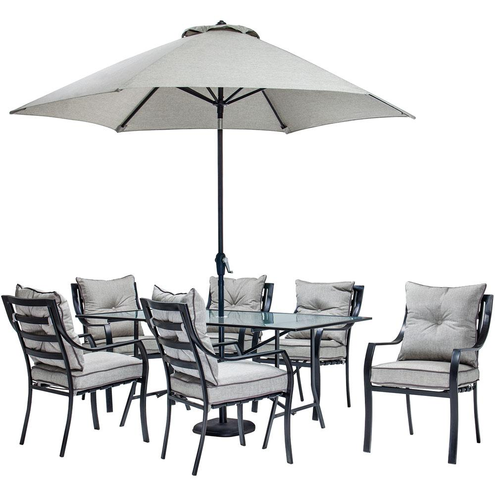 Hanover Lavallette 7-Piece Glass-Top Rectangular Patio Dining Set with  Umbrella, Base and Silver Linings Cushions