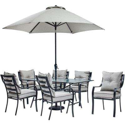 Lavallette 7-Piece Glass-Top Rectangular Patio Dining Set with Umbrella, Base and Silver Linings Cushions