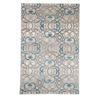 Vintage Interlocking Brocade Ivory Blue 5 ft. x 8 ft. Area Rug
