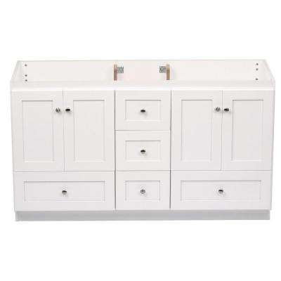 Shaker 60 in. W x 21 in. D x 34.5 in. H Vanity for Double Basins Cabinet Only in Satin White