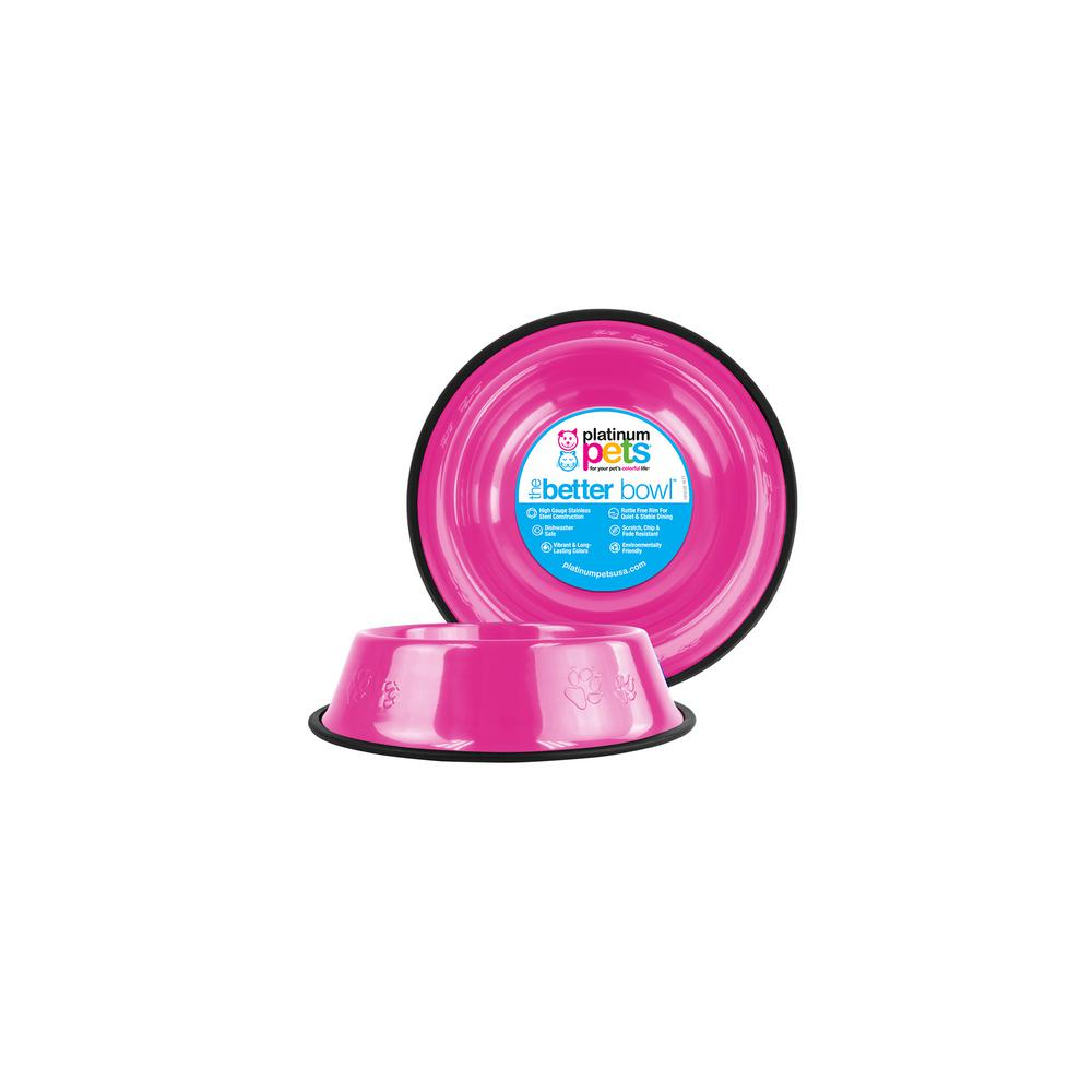 Platinum Pets 1 Cup Stainless Steel Embossed Non-Tip Cat Bowl in Pink