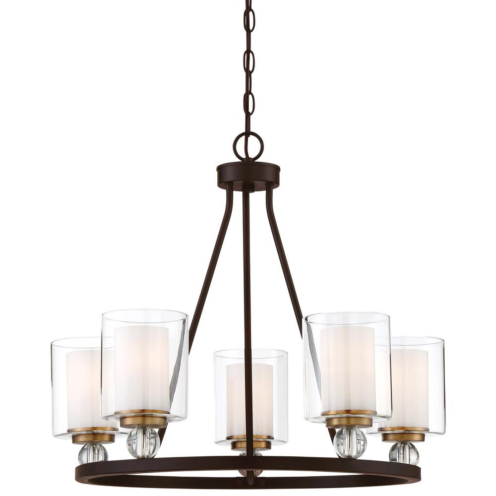 Minka Lavery Studio 5 Collection Light Painted Bronze With Natural Brushed Brass Chandelier