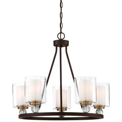 Studio 5 Collection 5-Light Painted Bronze with Natural Brushed Brass Chandelier with Clear Glass Shades