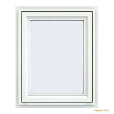 29.5 in. x 35.5 in. V-4500 Series White Vinyl Left-Handed Casement Window with Fiberglass Mesh Screen