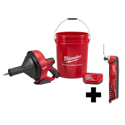 M12 12-Volt Lithium-Ion Cordless Auger Snake Drain Cleaning Kit with M12 Multi-Tool