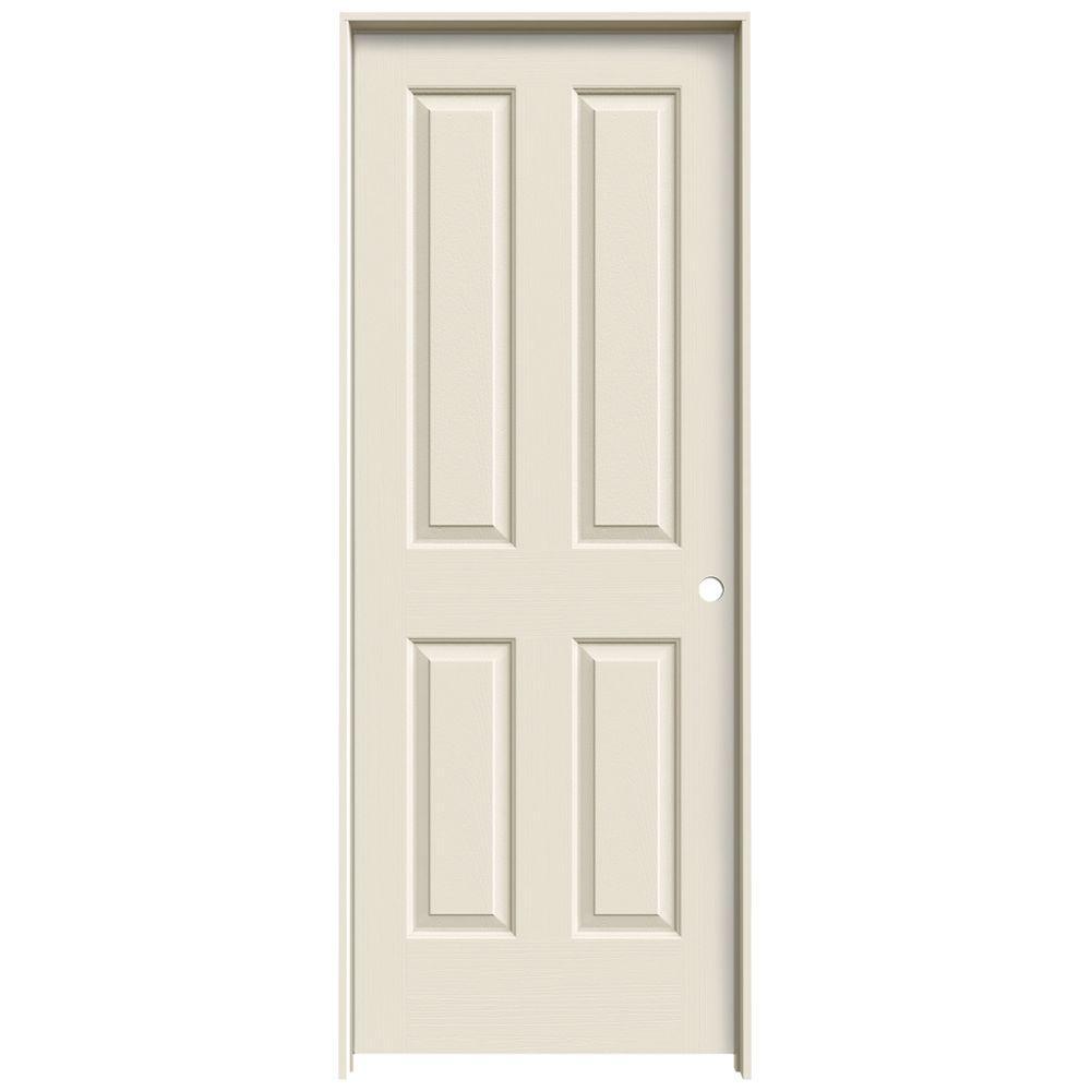 JELD-WEN Textured 4-Panel Primed Molded Single Prehung Interior Door