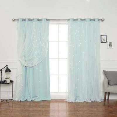 84 in. L Mint Tulle Overlay Star Cut Out Blackout Curtain Panel (2-Pack)