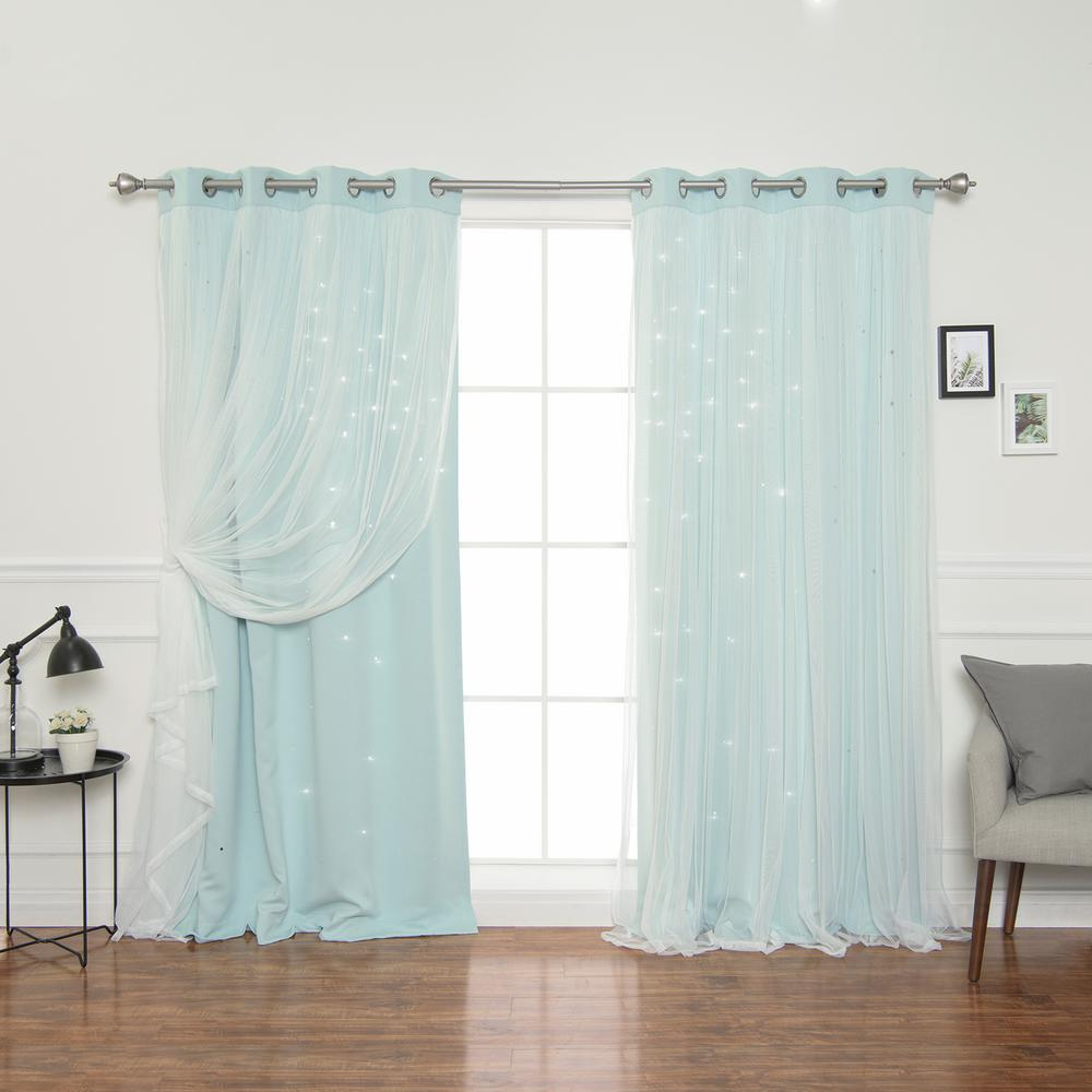 L Mint Tulle Overlay Star Cut Out Blackout Curtain Panel