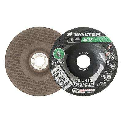 ALU 4.5 in. x 7/8 in. Arbor x 1/8 in. T27 GR A-24-ALU Grinding Wheel for Aluminum (25-Pack)