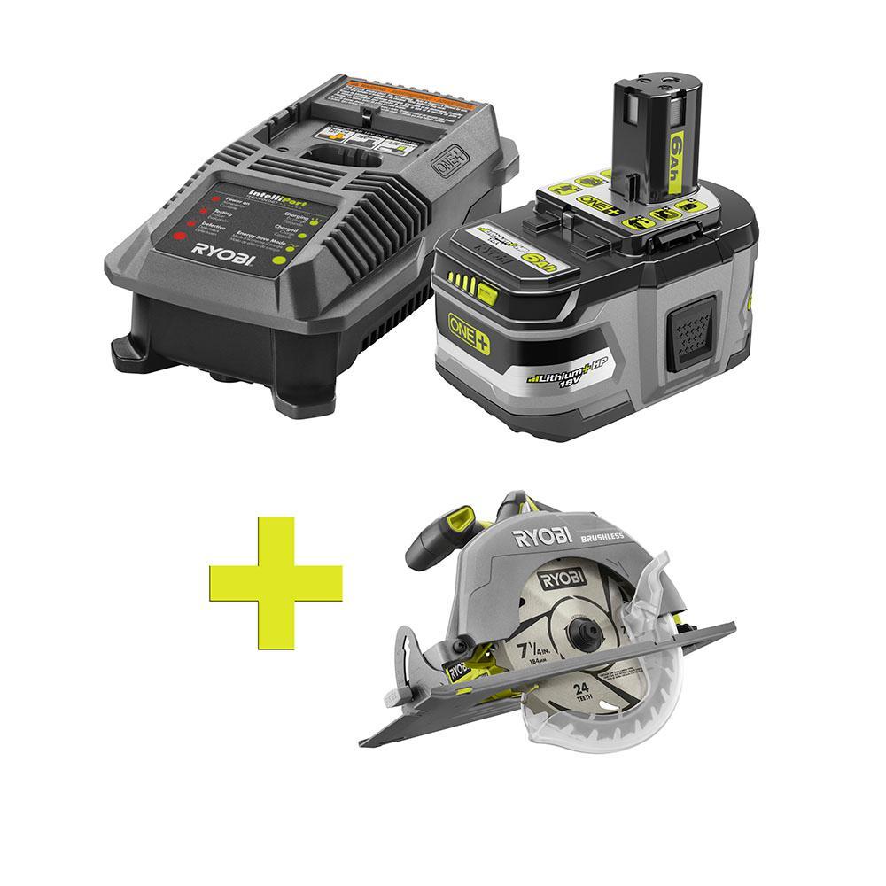 18-Volt ONE+ Lithium-Ion LITHIUM+ HP 6.0 Ah Starter Kit w/ Bonus ONE+ Brushless 7-1/4 in. Circular Saw
