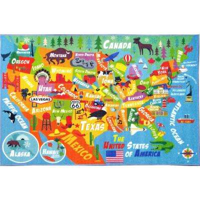 Multi-Color Kids and Children Bedroom Playroom USA United States Map Educational Learning 3 ft. x 5 ft. Area Rug